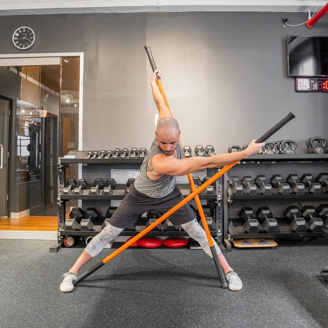 thoracic twist using stick mobility for mobility equipment