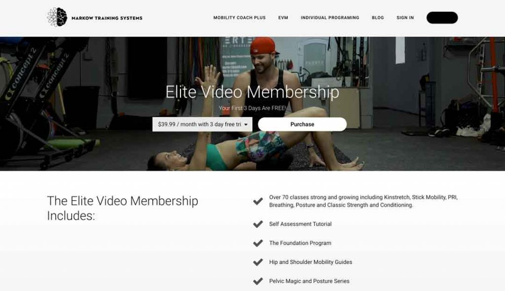 Example of Landing Page for Fitness Business on Thinkific